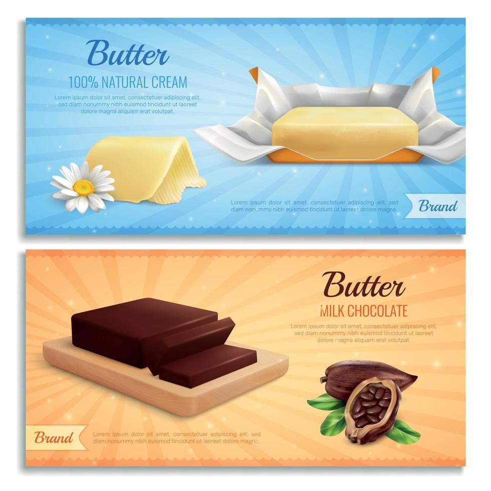 Butter Advertising Realistic Banners Vector Illustration