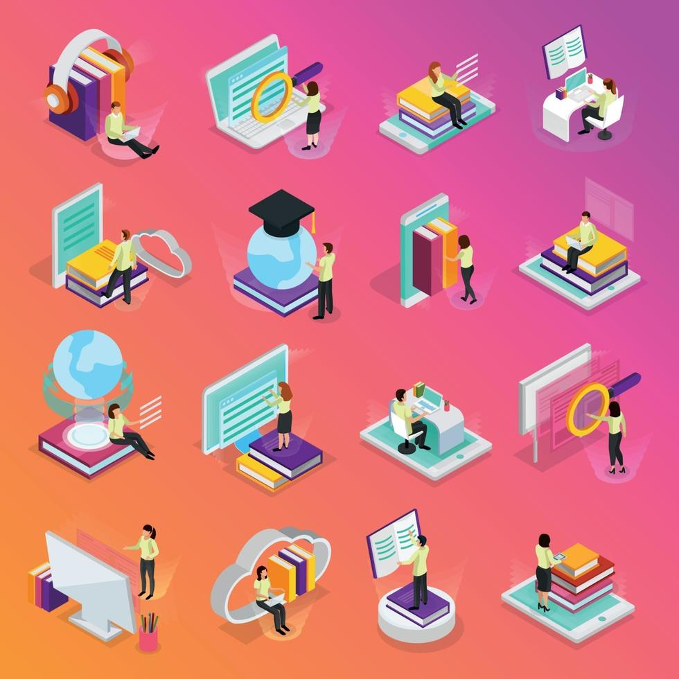 Online Learning Isometric Icons Set Vector Illustration