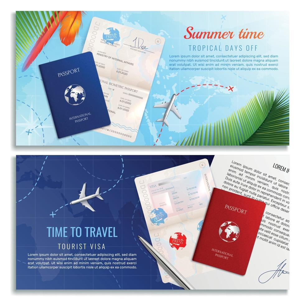 Time To Travel Realistic Banners Vector Illustration