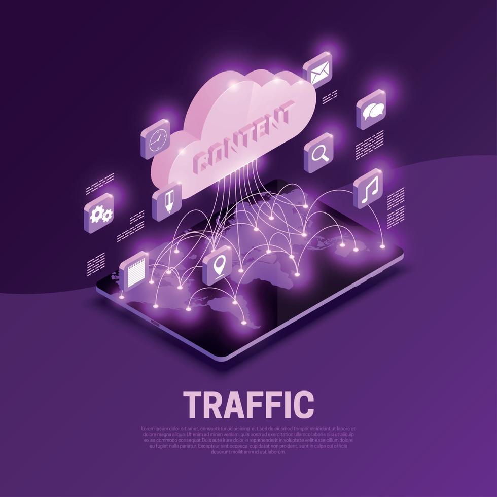 Traffic Isometric Composition Vector Illustration