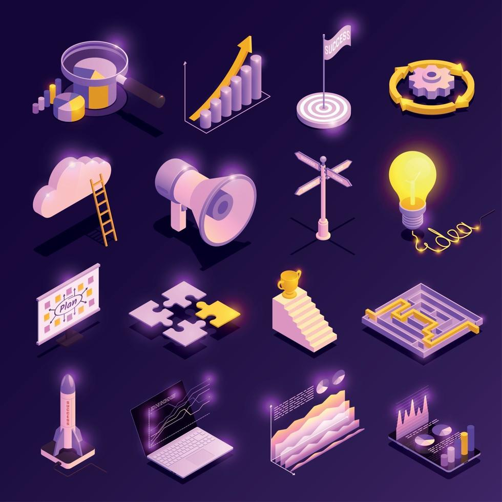 Business Strategy Icons Set Vector Illustration