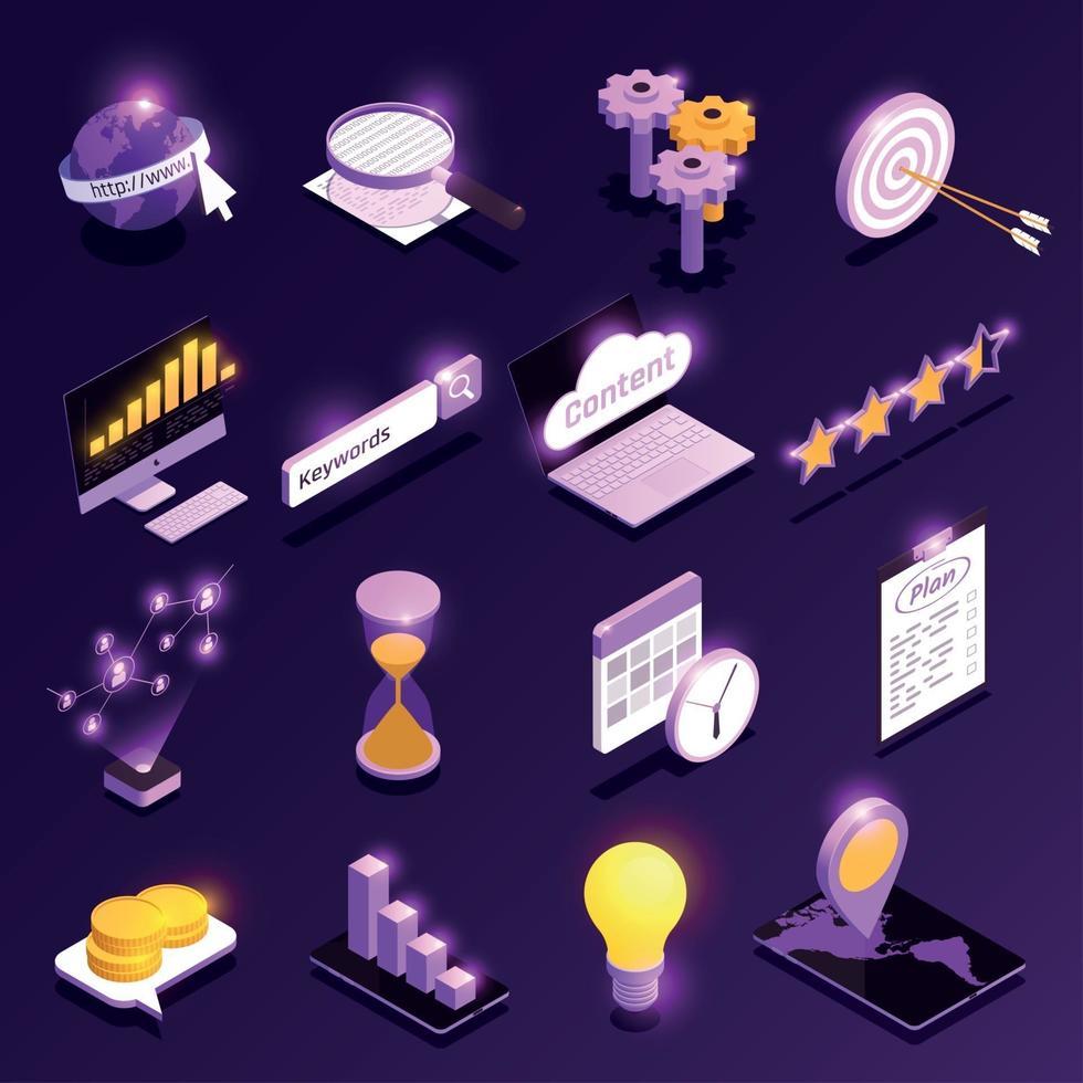 Web Traffic Isometric Icons Set Vector Illustration