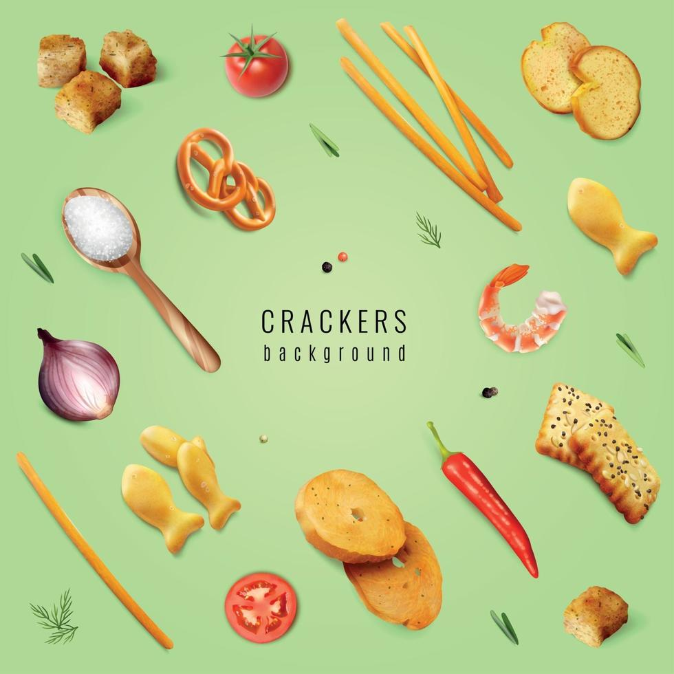 Crackers Realistic Background Vector Illustration