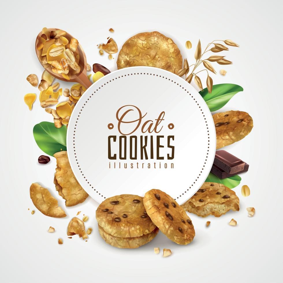 Oat Cookies Frame Realistic Illustration Vector Illustration