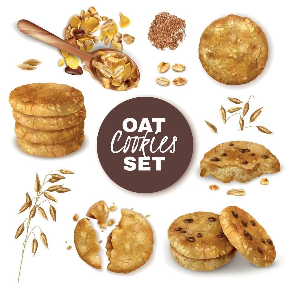 Oatmeal Cookies Realistic Set Vector Illustration
