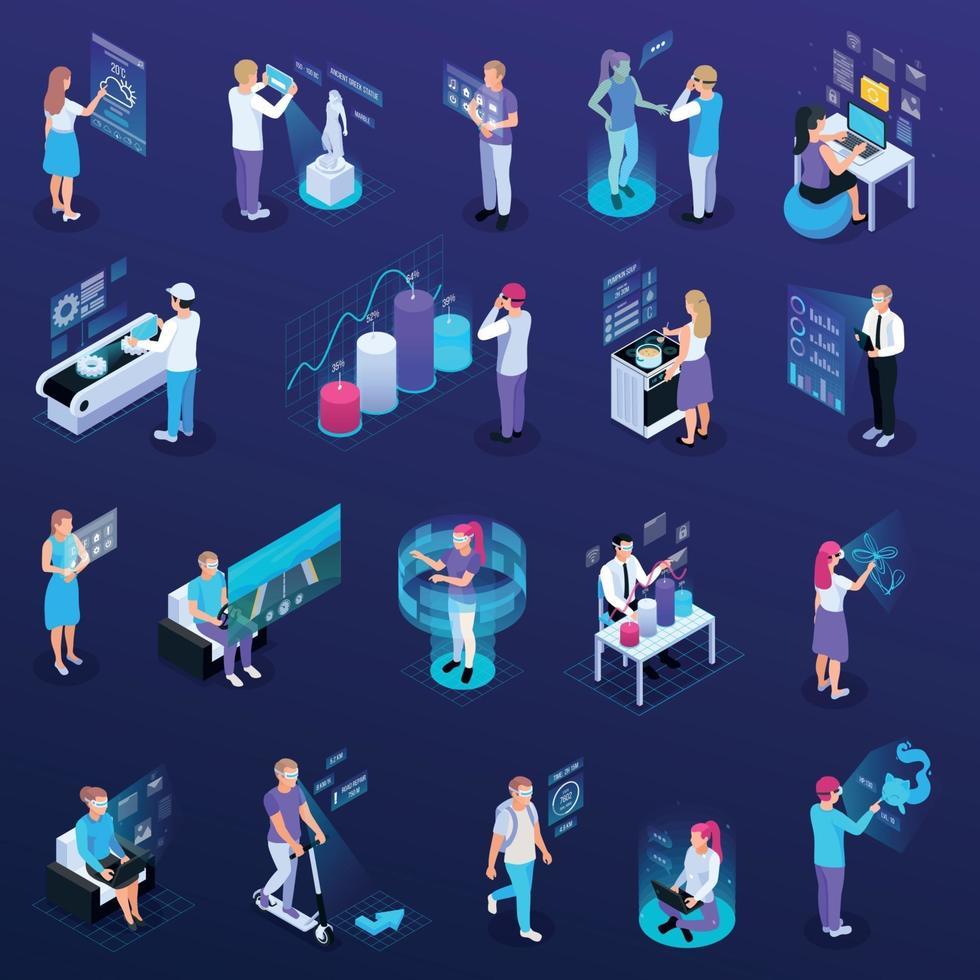 Virtual Reality People Set Vector Illustration