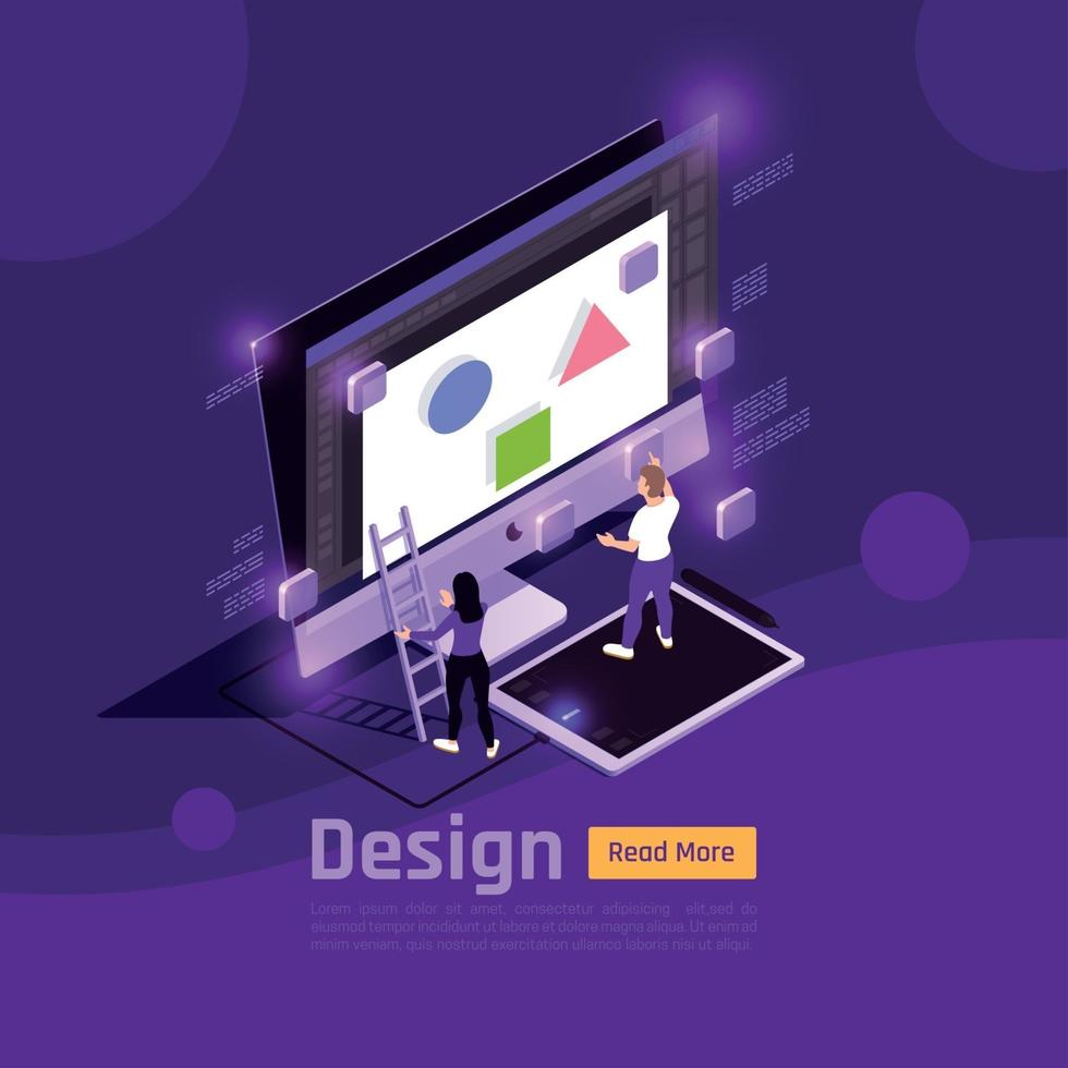 Isometric People And Interfaces Glow Concept Vector Illustration