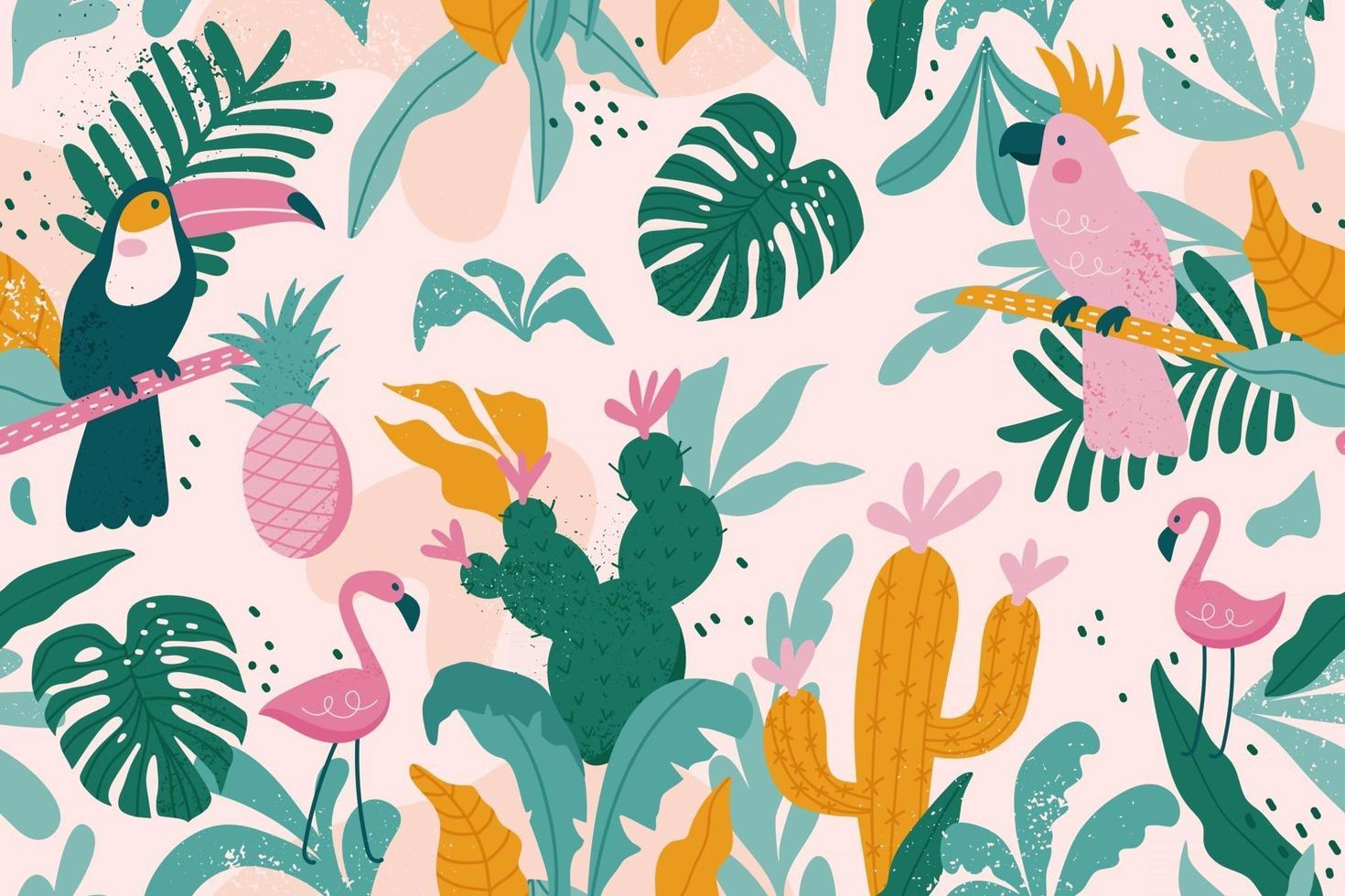 Tropical seamless pattern with toucan, flamingos, parrot, cactuses vector