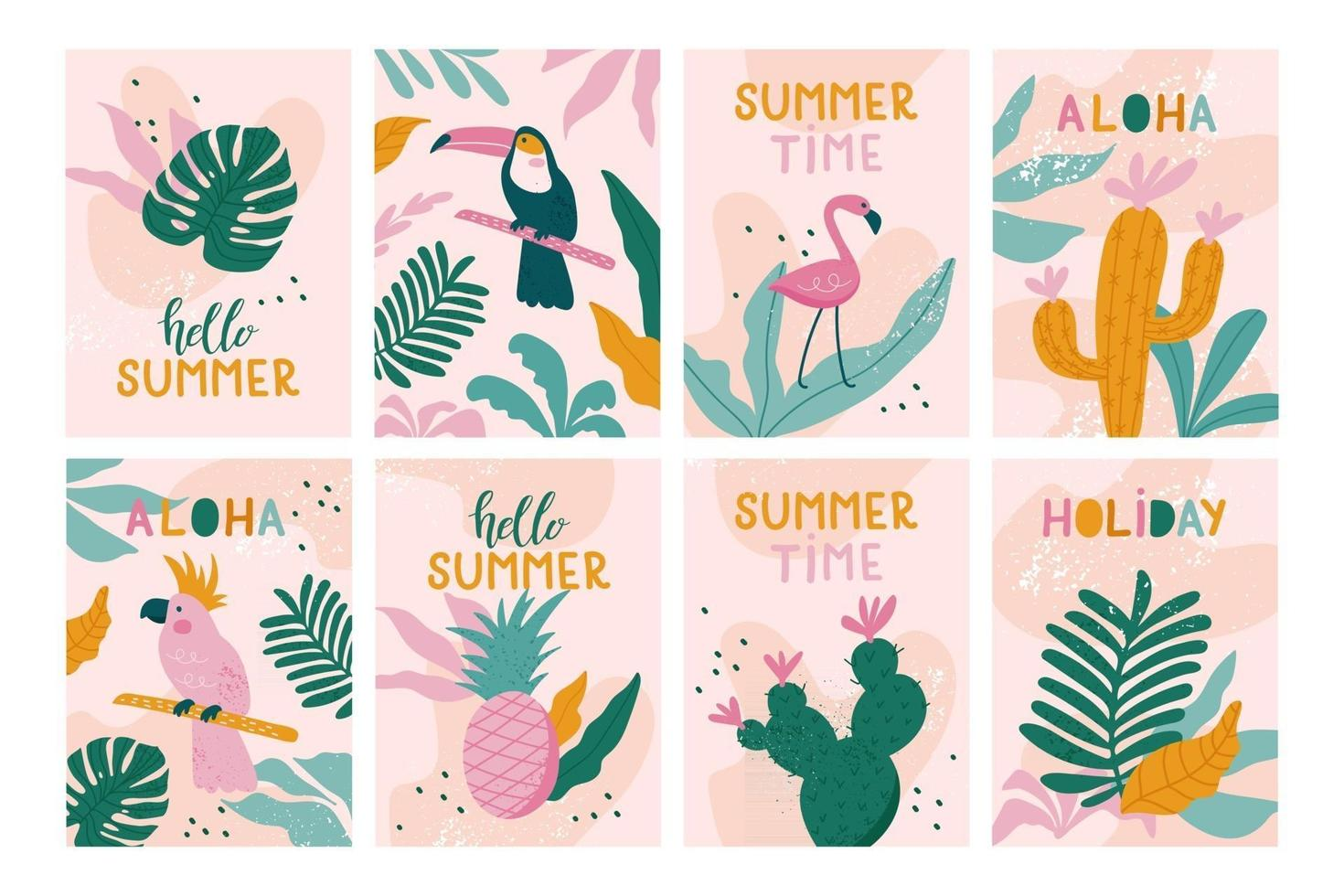 Set of Summer holiday cards. Vector