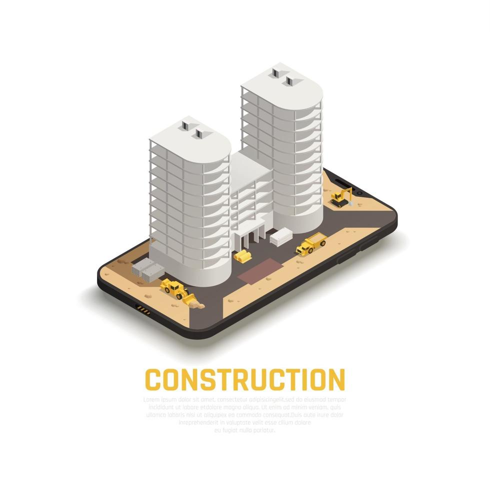 Construction Isometric Composition Vector Illustration