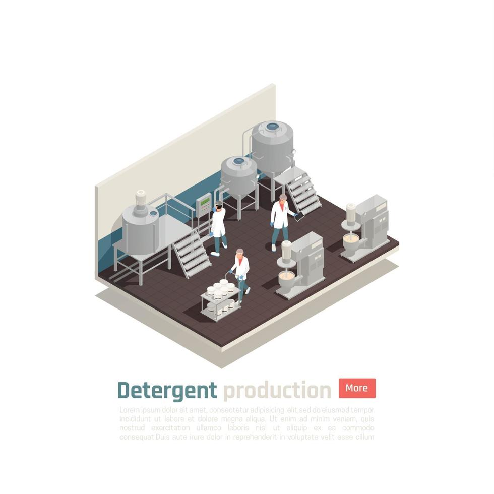 Detergent Production Isometric Composition Vector Illustration