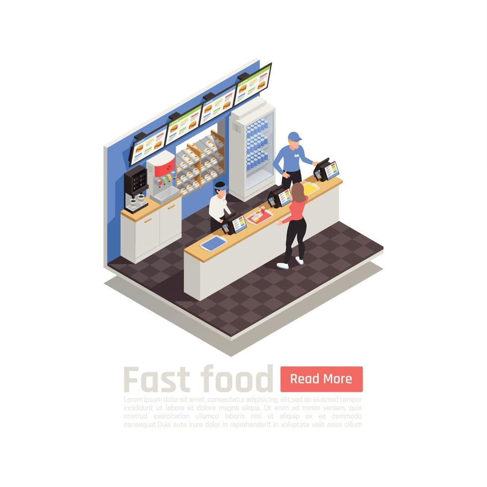 Fast Food Restaurant Isometric Composition Vector Illustration