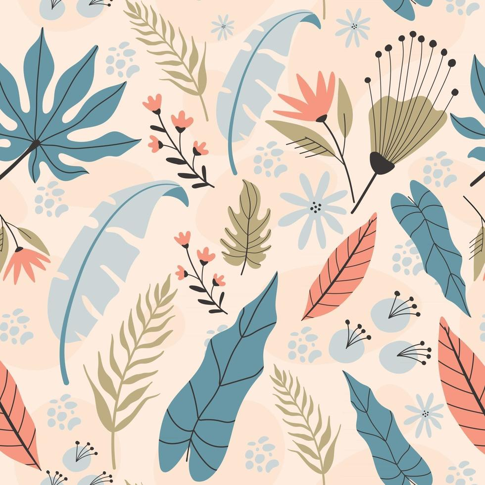 Tropical seamless pattern, hand drawn illustrations. vector