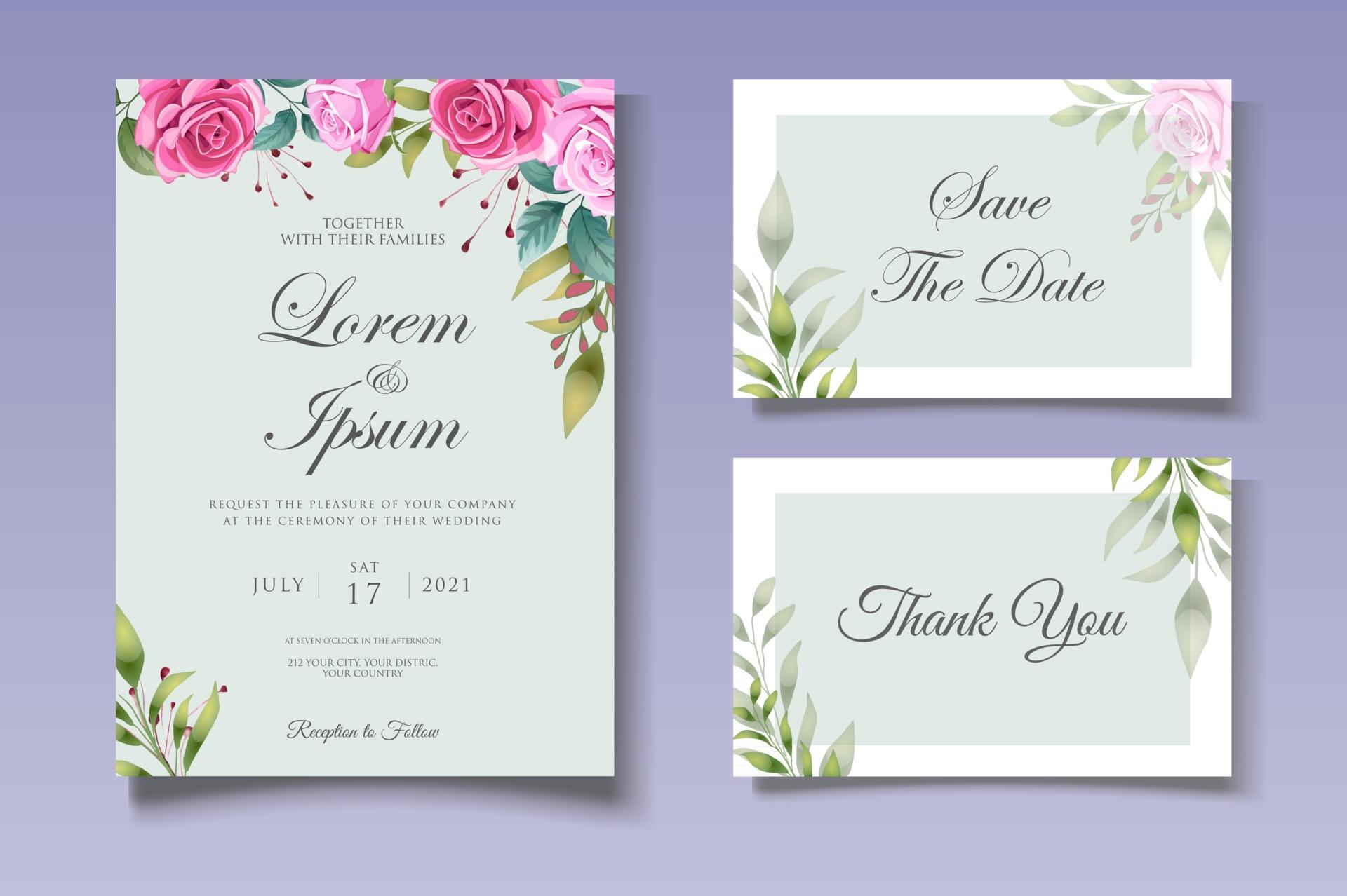 Botanical Wedding Invitation Card Template 2948840 Vector Art At Vecteezy