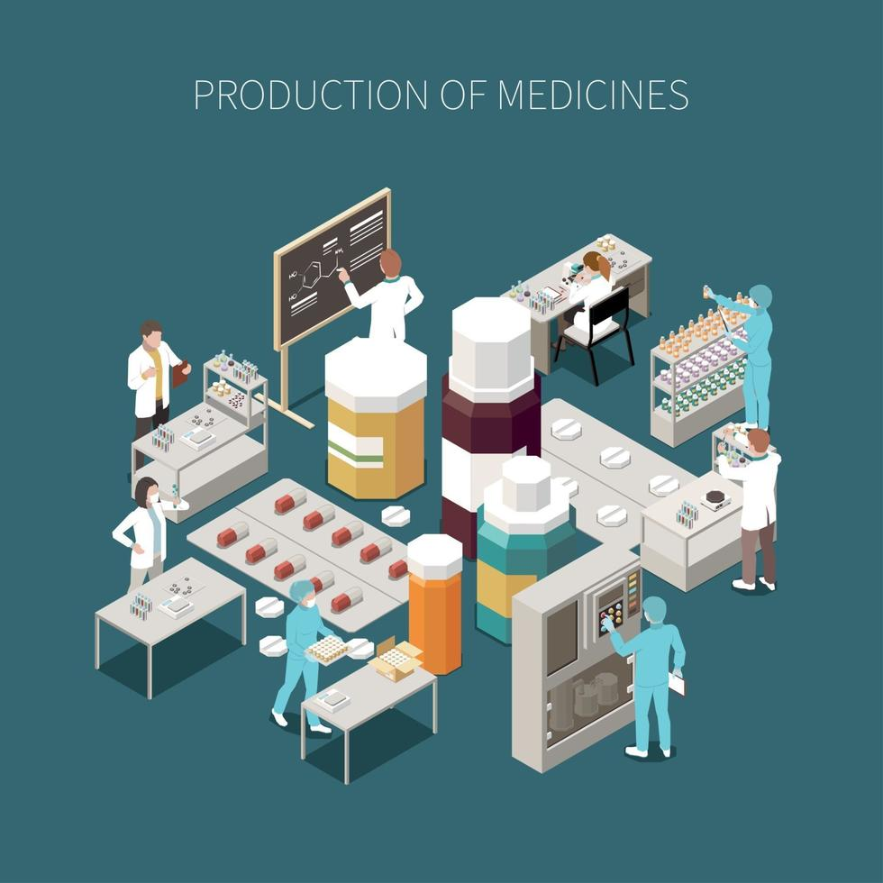 Colored Isolated Pharmaceutical Production Composition vector