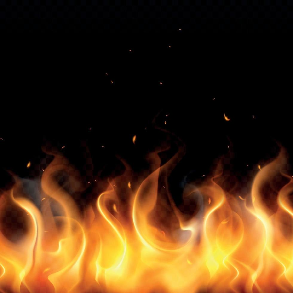 Fire Flame Realistic Background Vector Illustration