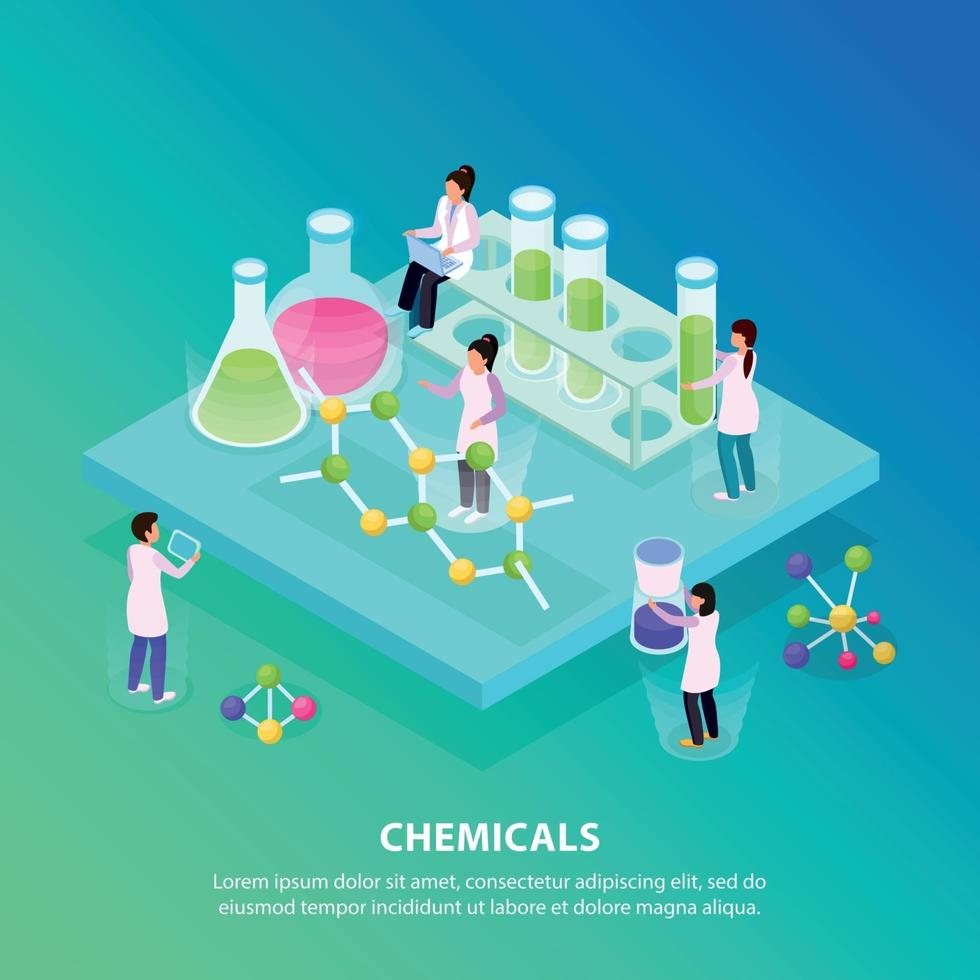 Isometric Chemicals Background Vector Illustration