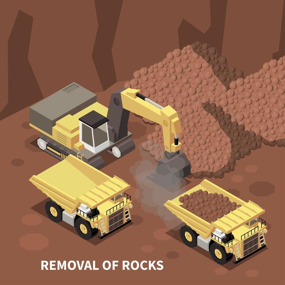 Mining Machinery Isometric Background Vector Illustration