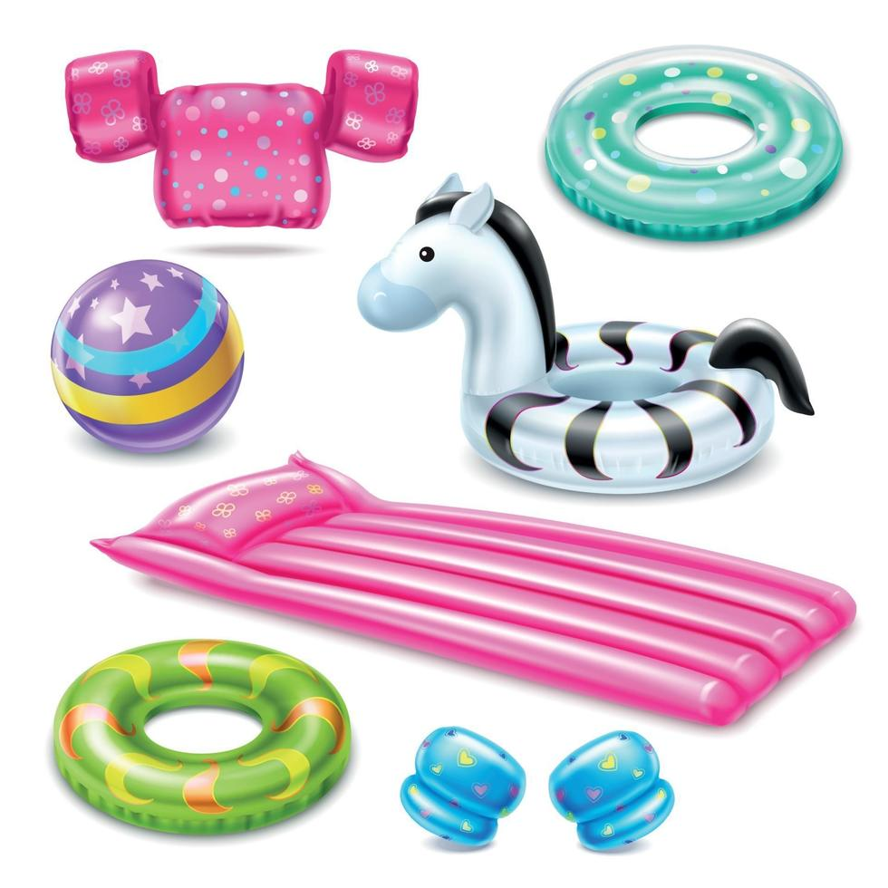 Inflatable Swimming Accessories For Kids Vector Illustration