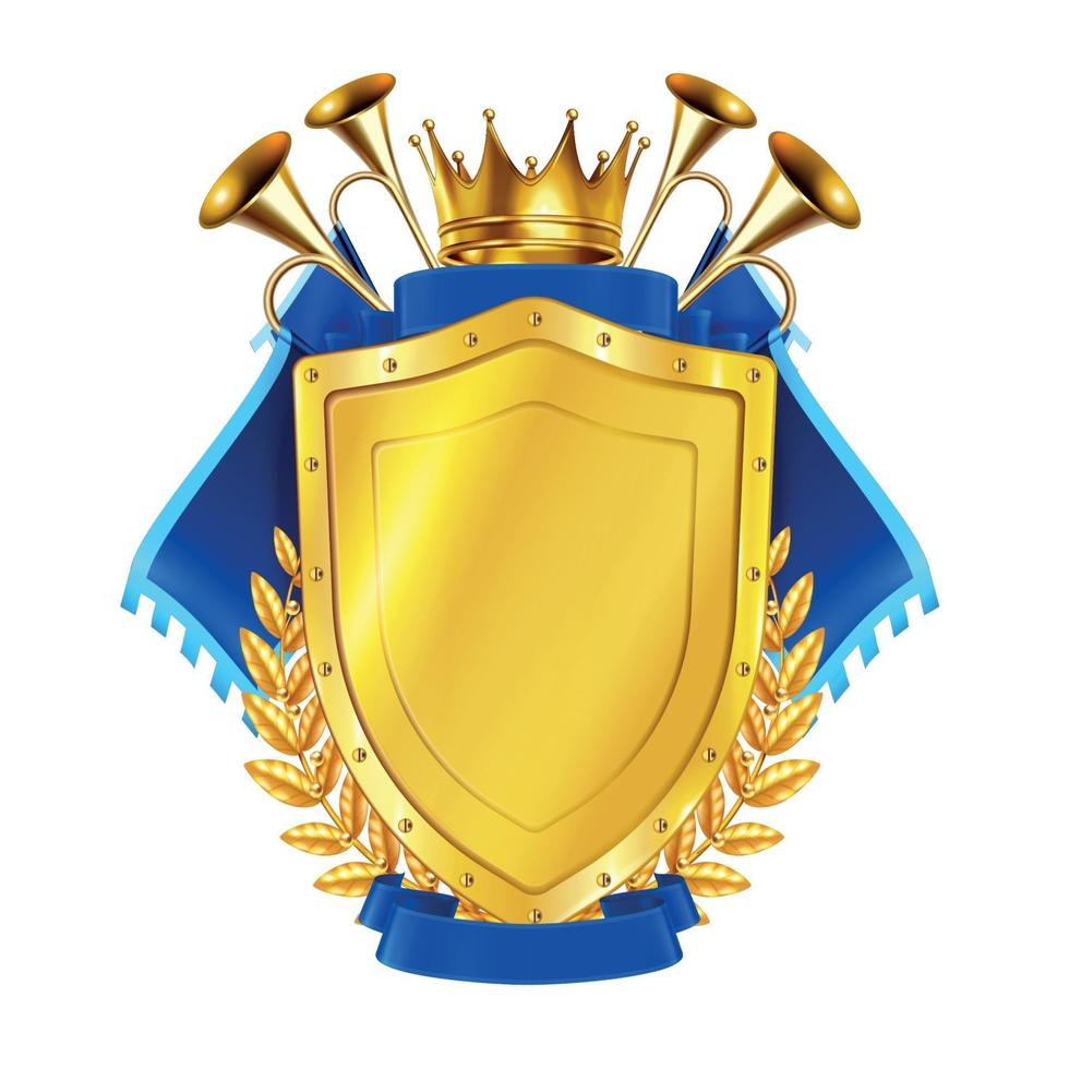 Golden Shield With Horns And Pennants Vector Illustration