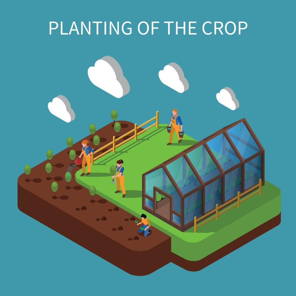 Planting Of Crops Isometric Composition Vector Illustration