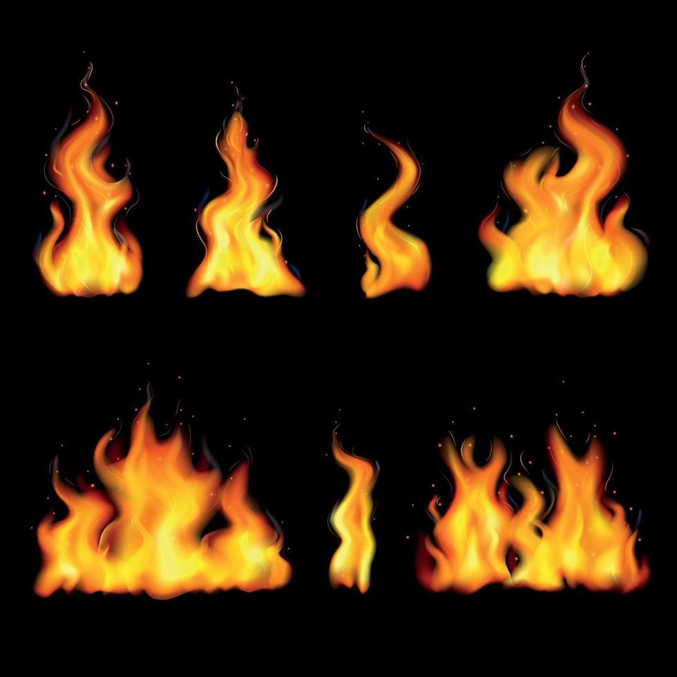 Realistic Fire Flame Icon Set Vector Illustration