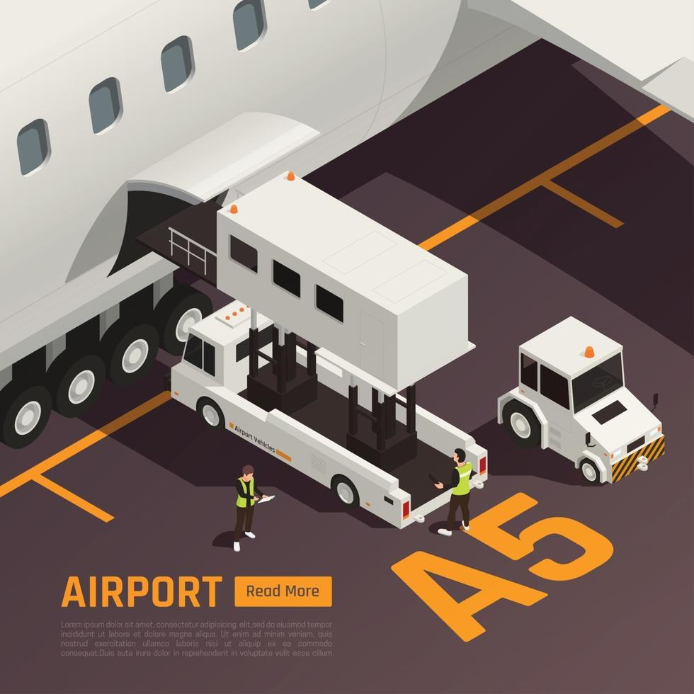 Airport Baggage Loading Background Vector Illustration