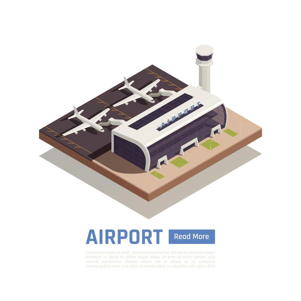 Isometric Terminal Airport Background Vector Illustration