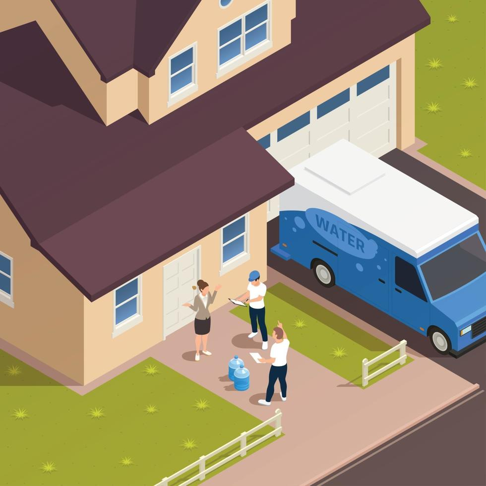Water Courier Encounter Composition Vector Illustration