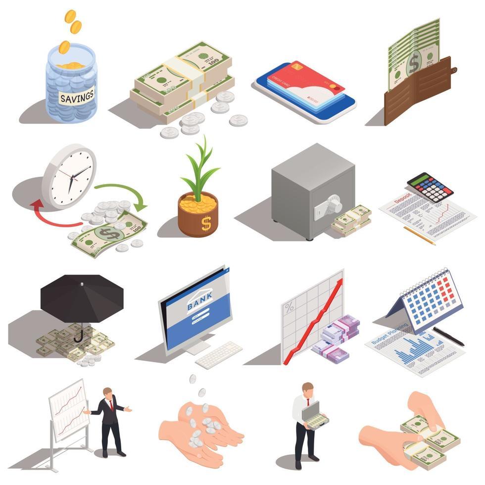 Wealth Management Isometric Set Vector Illustration