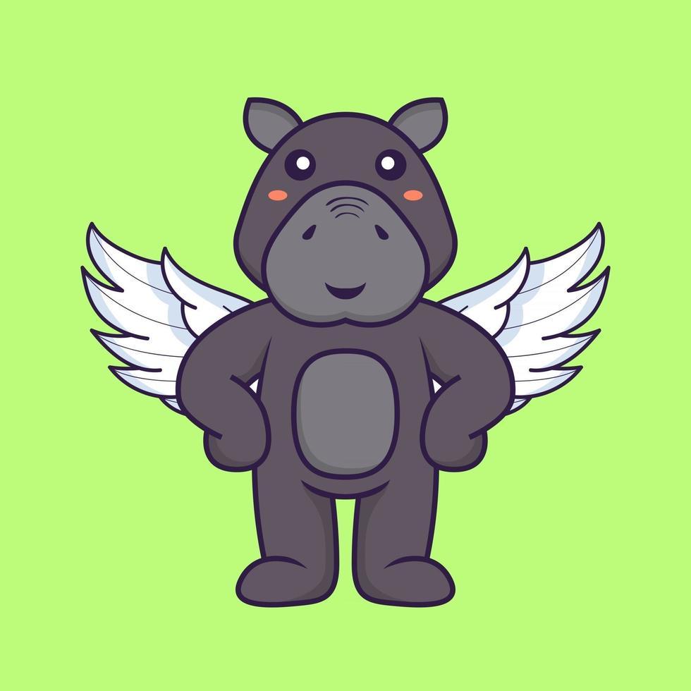 Cute hippopotamus using wings. Animal cartoon concept. vector
