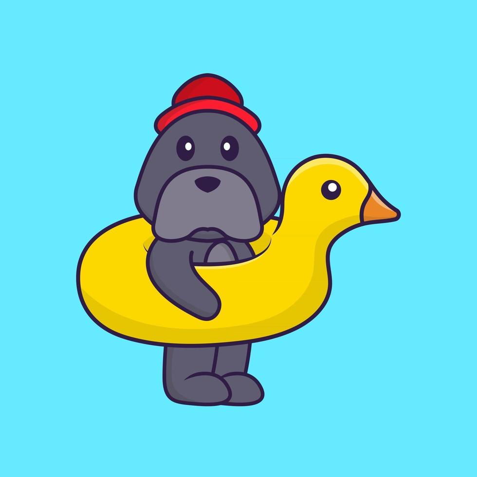 Cute dog With Duck buoy. vector