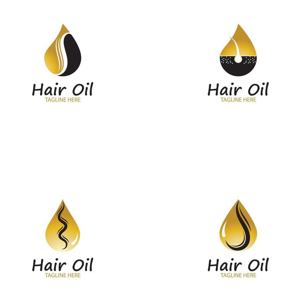 hair oil essential logo with drop oil and hair logo symbol-vector vector