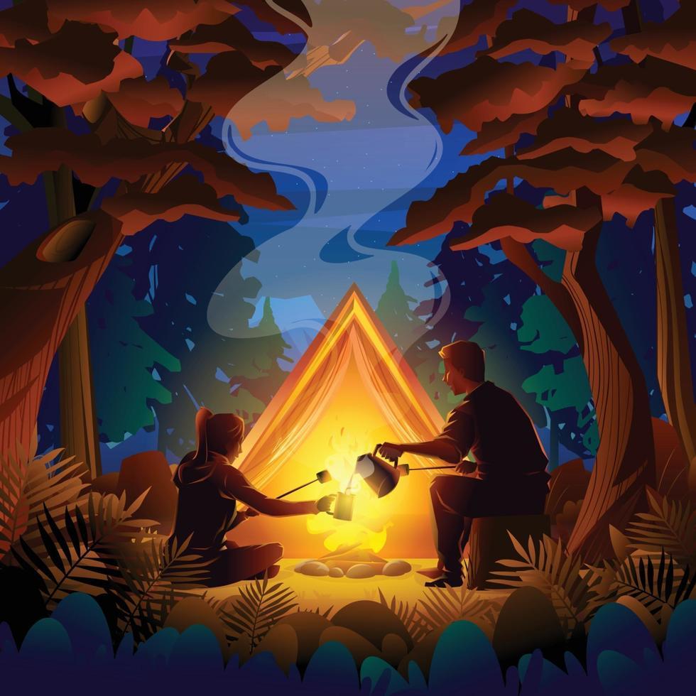 Night Autumn Camping Concept vector