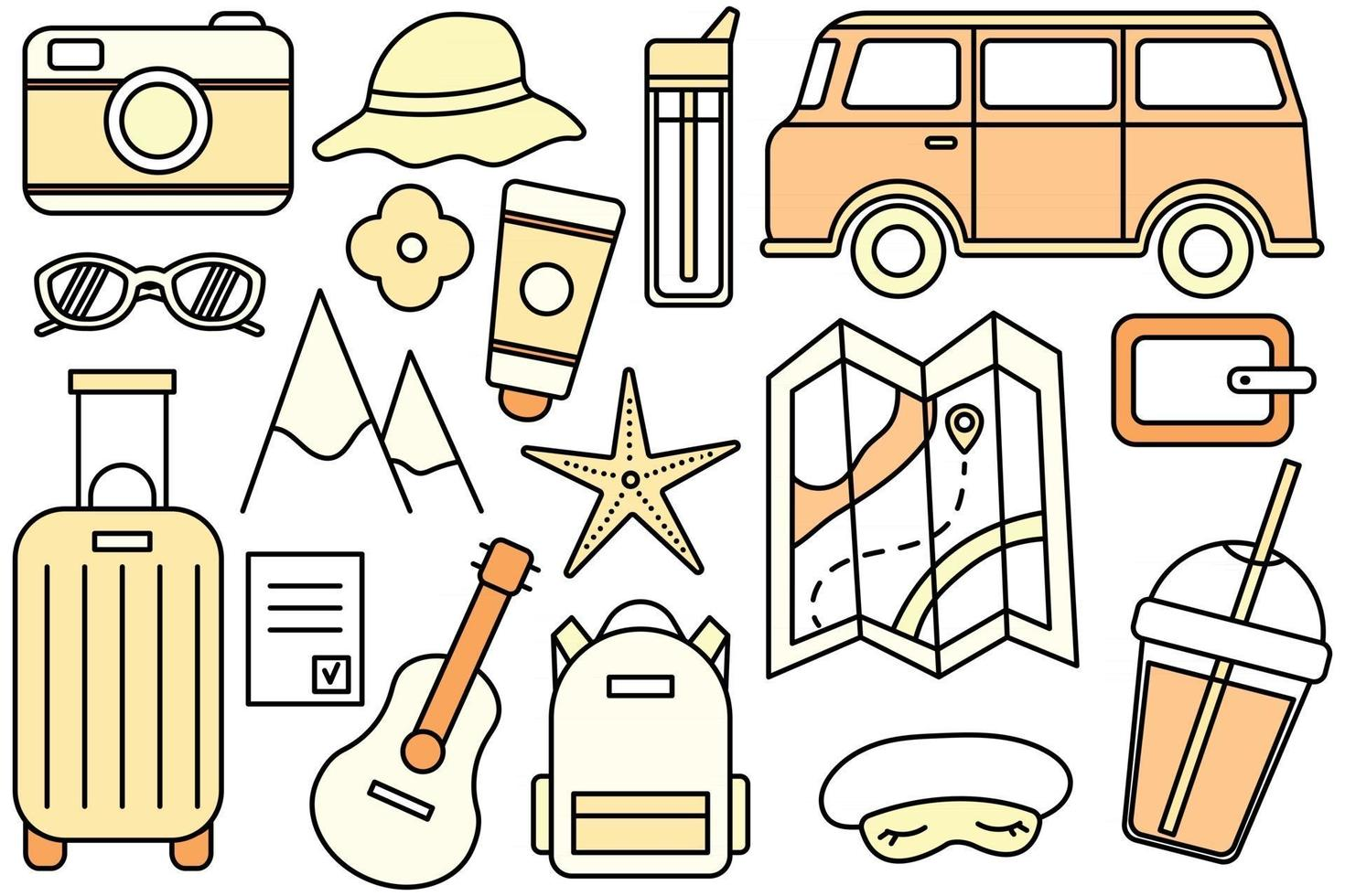 Travel to the mountains by the sea, hike. Eco tourism. Camping outdoor recreation. Vector line icon. Editable stroke. Doodle style. Collection of things for the vacation.
