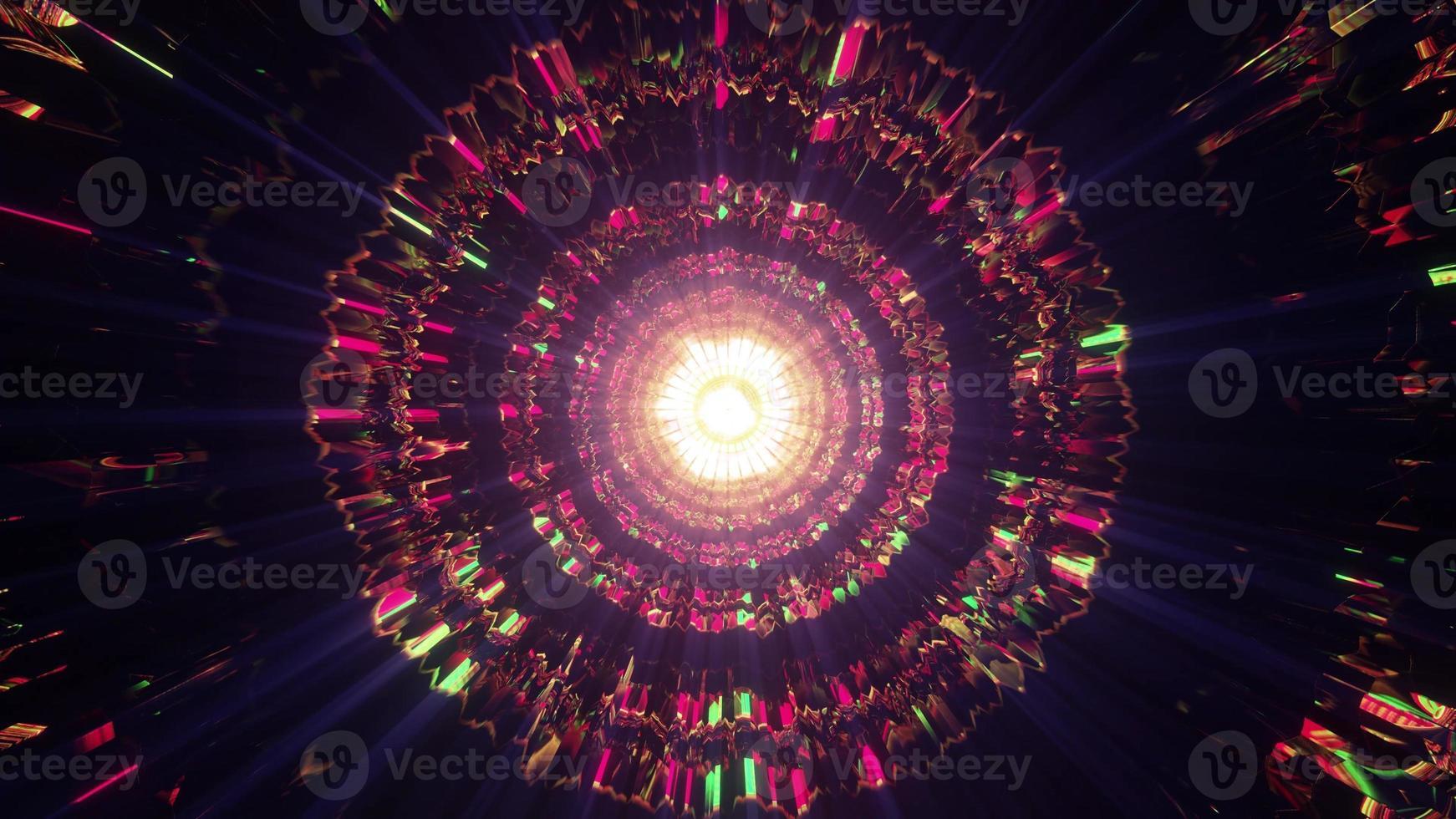 Colorful crystal tunnel 4K UHD 3D illustration photo