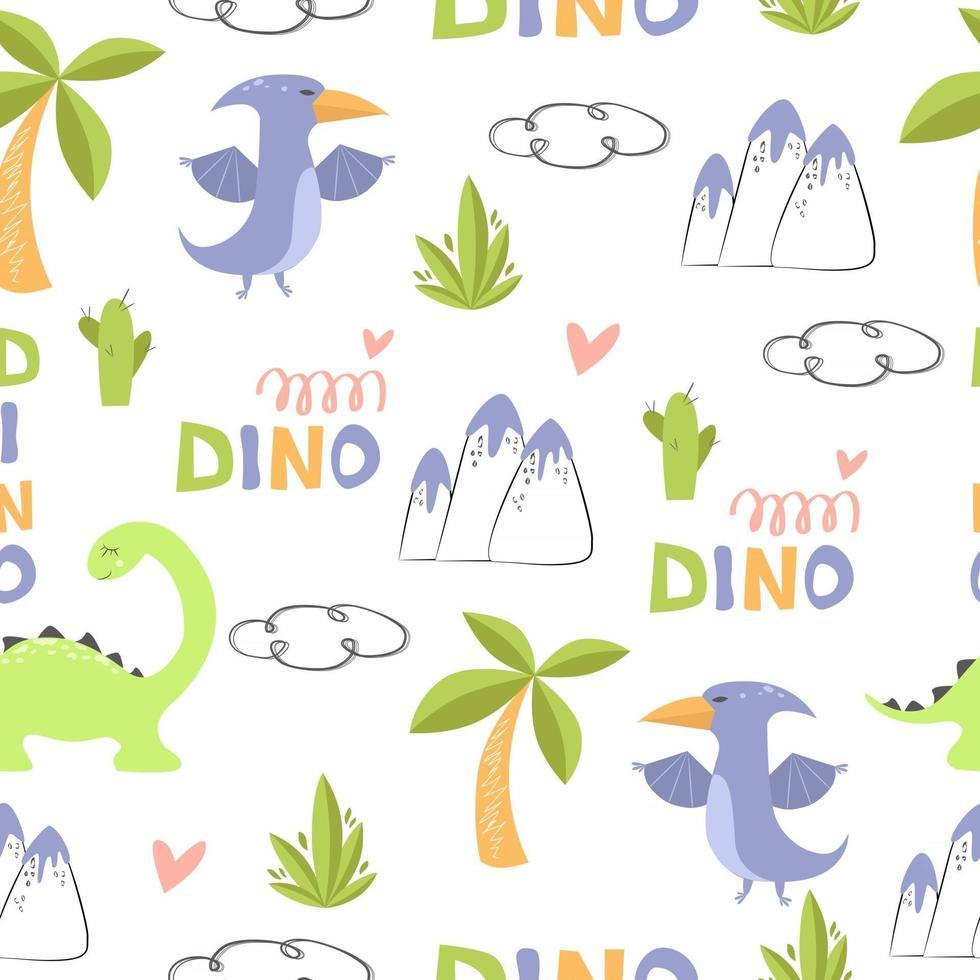 Vector pattern funny dinosaurs for children's textile design