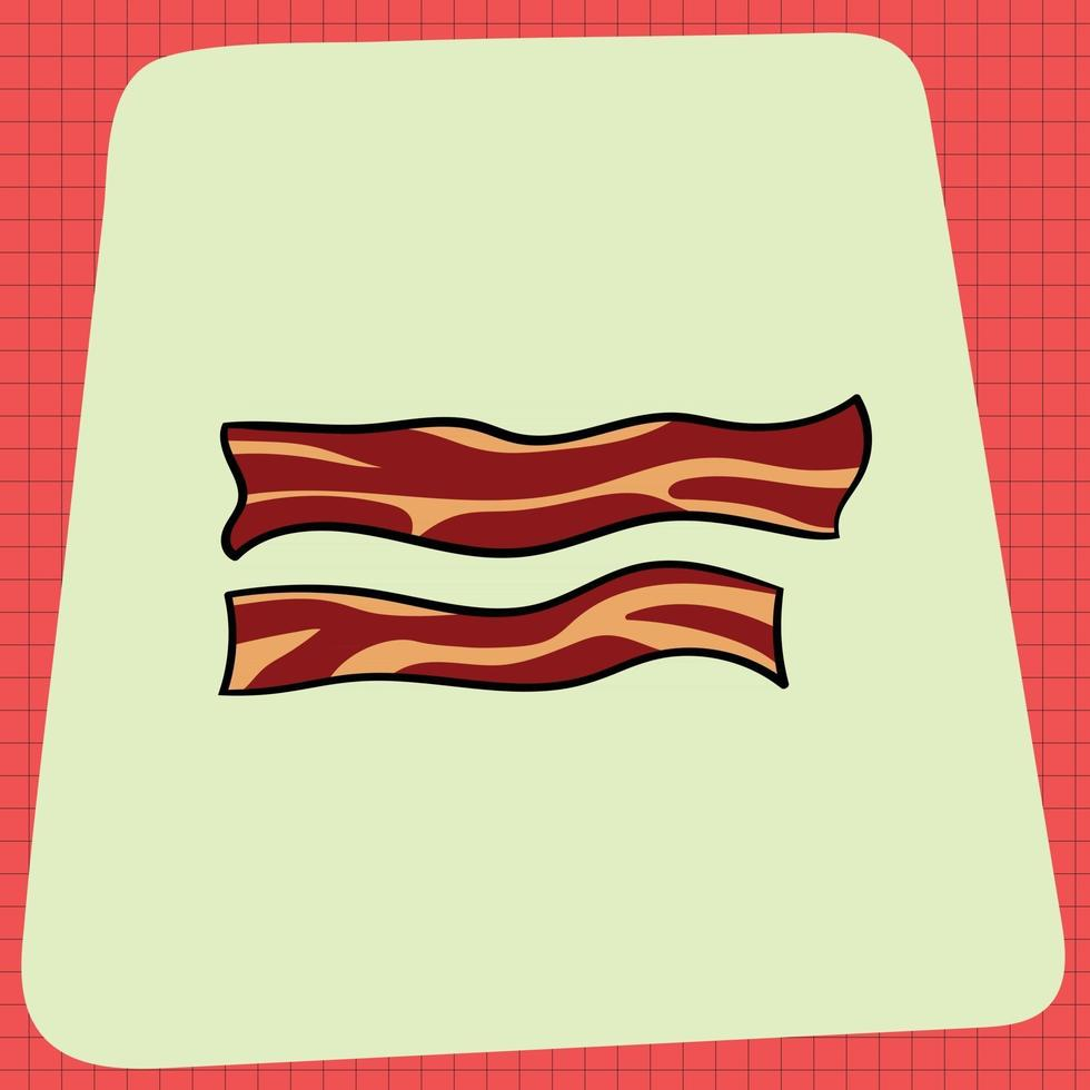 Sizzling Hot Fried Bacon Strips vector