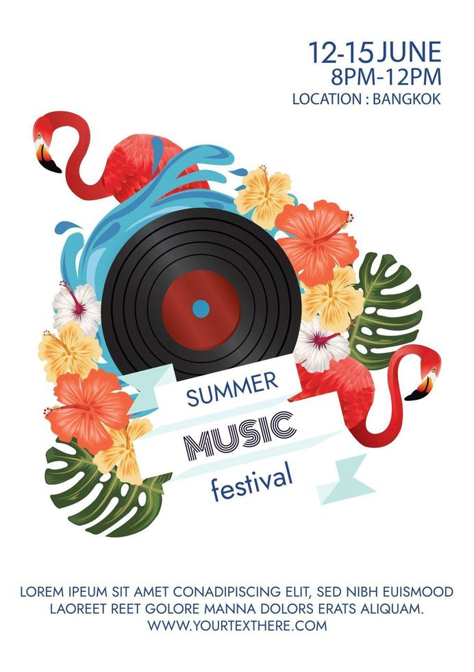 music festival poster for tropical party vector
