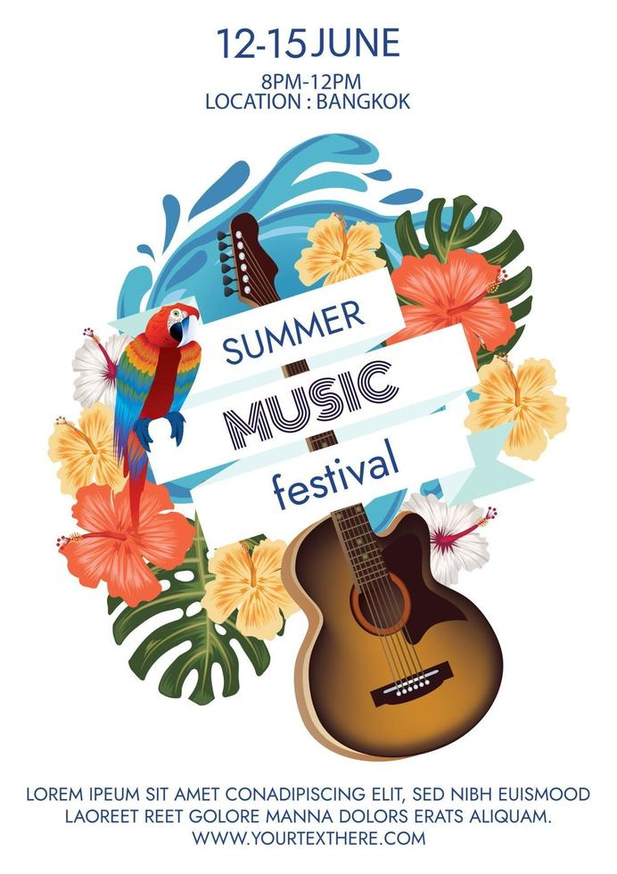 summer music festival poster for party vector