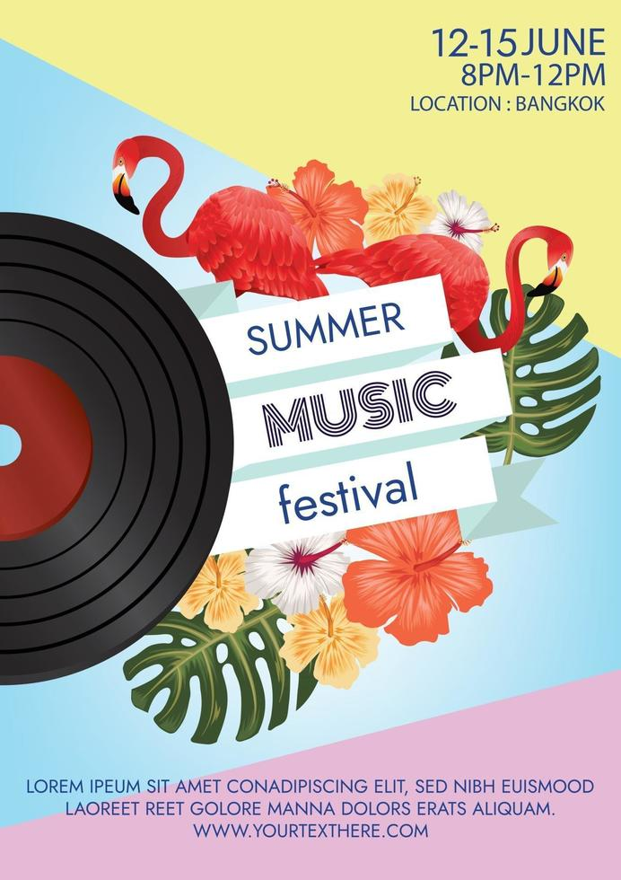 summer party music festival poster for party vector