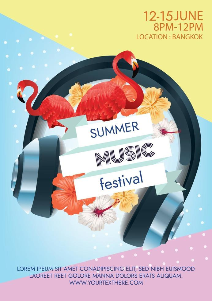 summer tropical music festival poster for party vector