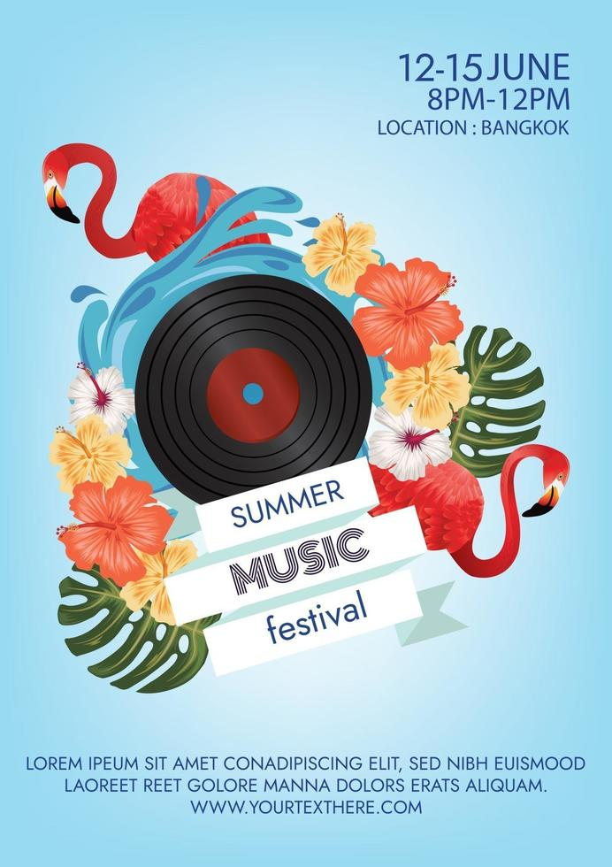 music festival poster for beach night party vector