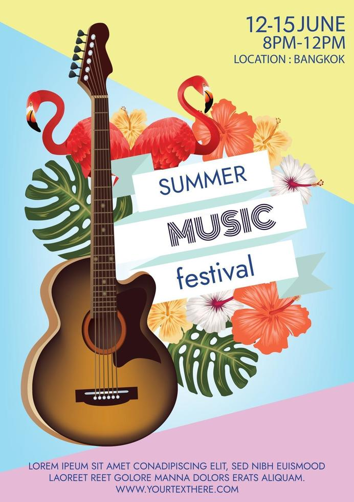 tropical summer music festival poster for party vector