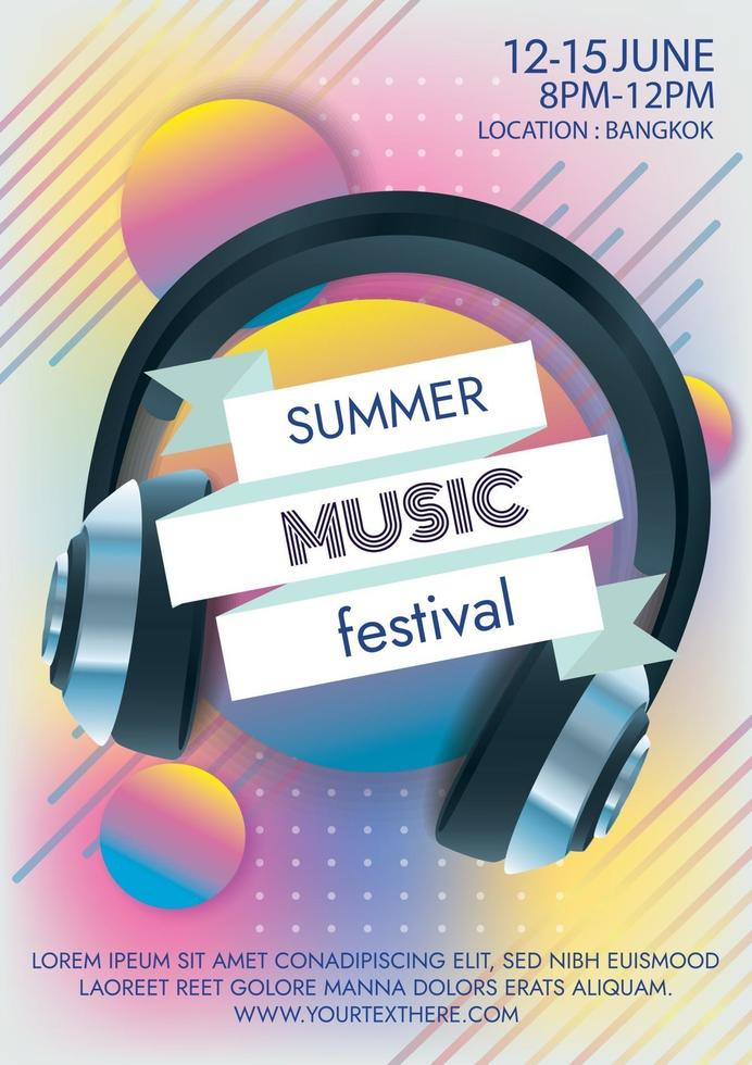 music festival summer party poster for party vector