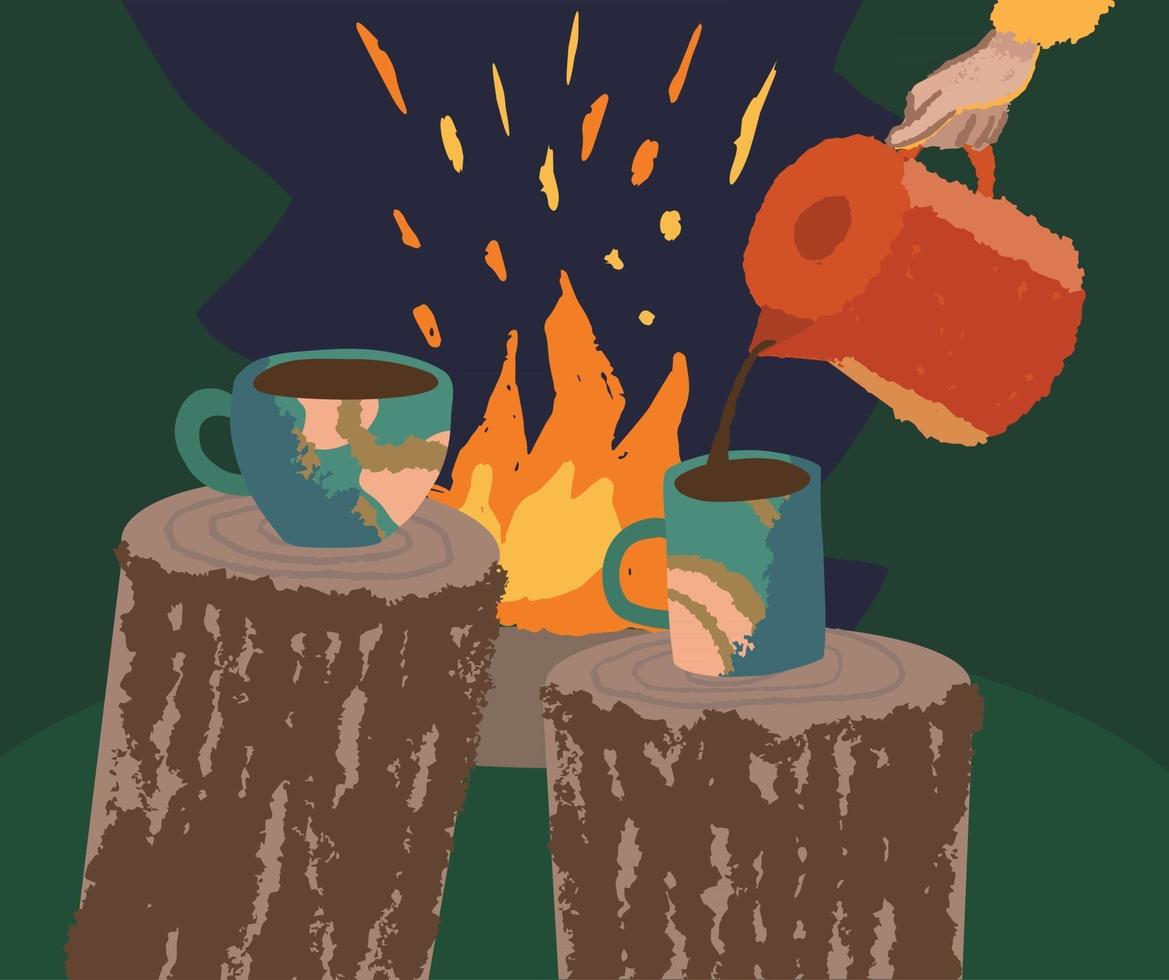 Pouring hot beverage in the forest near the fire vector