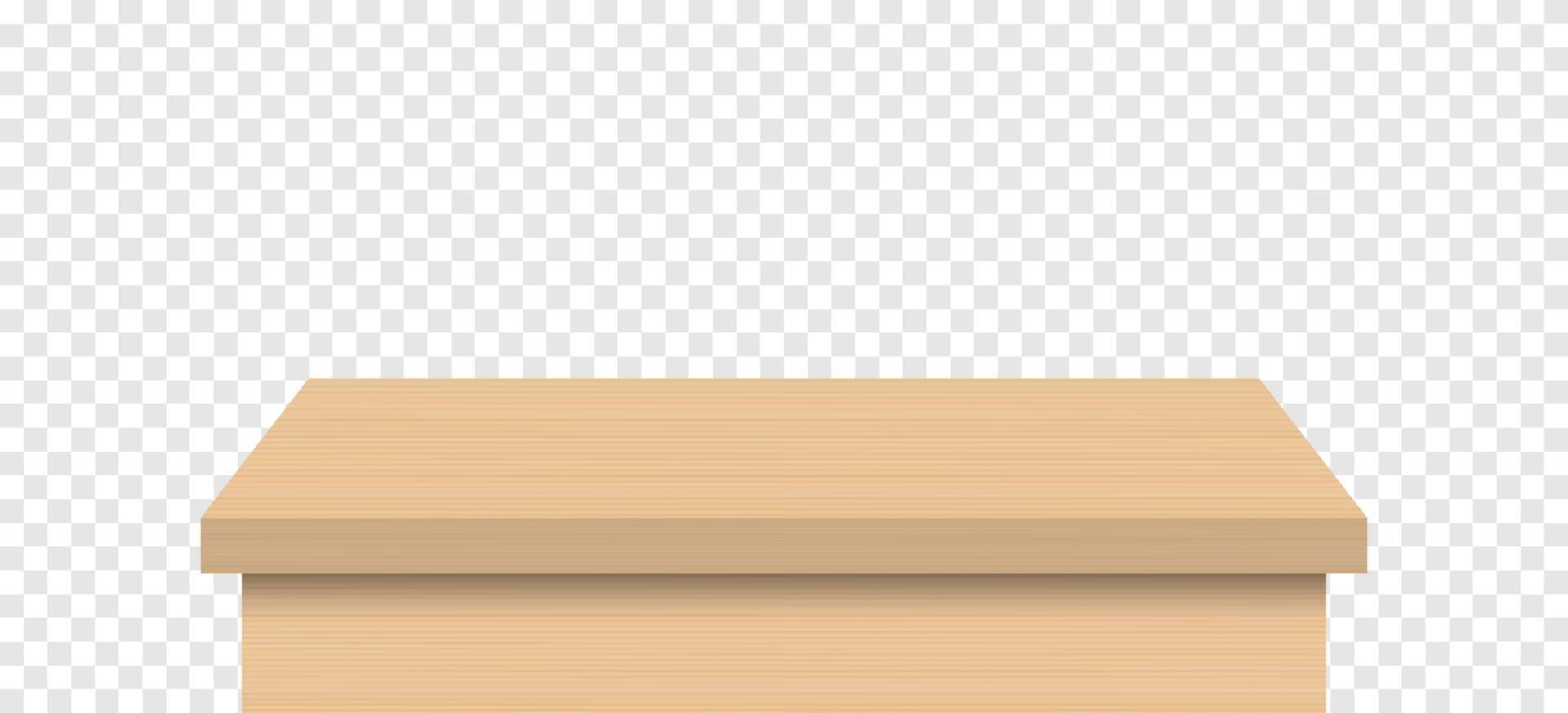 Empty wooden table top isolated vector