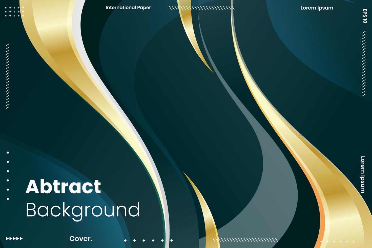 Abstract wavy dark blue with luxury gold lines background vector