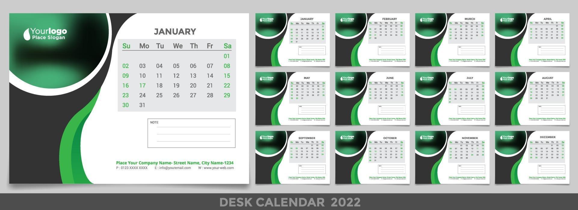 Desk Calendar 2022 Planner Corporate Template Design Set 2971469 Vector Art At Vecteezy