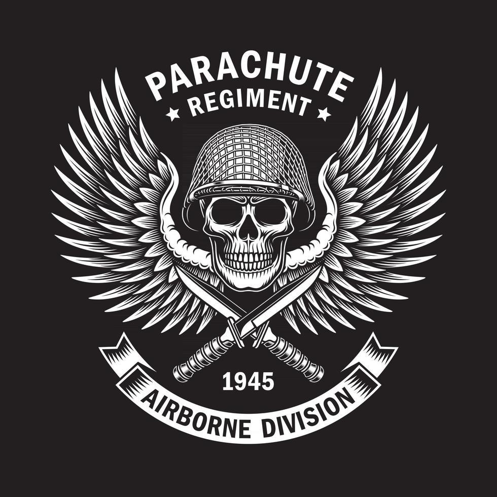 Military Skull Emblem Vector Graphic On Black